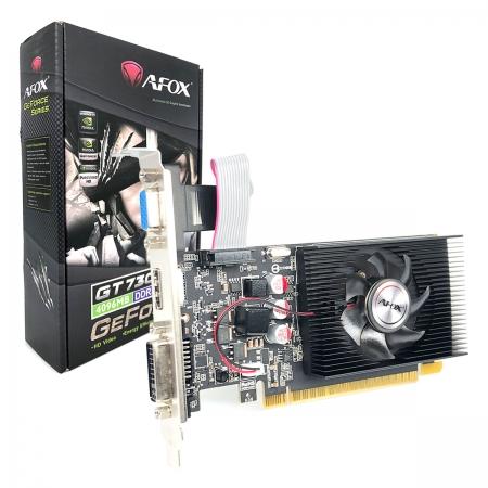 Placa de Vídeo Afox GeForce GT730 4GB, DDR3, 128 Bits, Low Profile, HDMI/DVI/VGA - AF730-4096D3L6