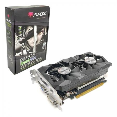 Placa de Vídeo Afox GeForce GT 740, 4GB, GDDR5, 128 Bits, Dual Fan, HDMI/DVI/VGA - AF740-4096D5H2-V2