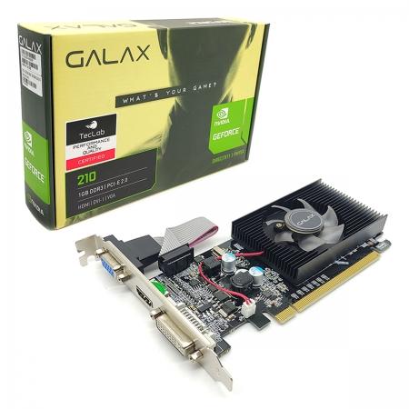 Placa de Vídeo Galax GeForce 210, 1GB, DDR3, 64 Bits, HDMI/DVI/VGA - 21GGF4HI00NP