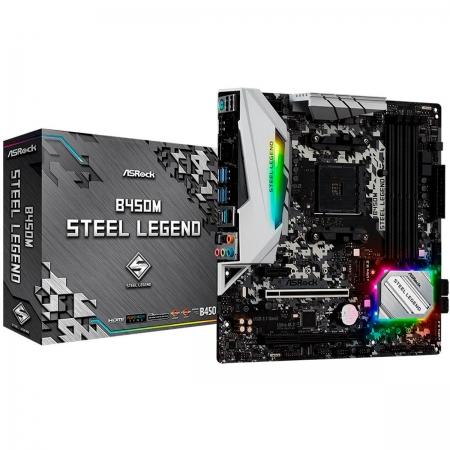 Placa Mãe ASRock B450M Steel Legend, AMD AM4, DDR4, mATX