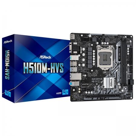 Placa Mãe Asrock H510M-HVS, Intel 10ª/11ª Geração, Socket LGA1200, DDR4, Micro ATX