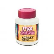 PVA Tinta Fosca para Artesanato, 100 ml, Contém 6 Unidades, Acrilex - Branco