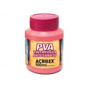 PVA Tinta Fosca para Artesanato, 100 ml, Contém 6 Unidades, Acrilex - Rosa