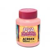 PVA Tinta Fosca para Artesanato, 100 ml, Contém 6 Unidades, Acrilex - Rosa Bebê