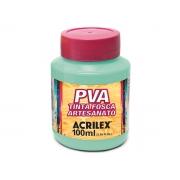 PVA Tinta Fosca para Artesanato, 100 ml, Contém 6 Unidades, Acrilex - Verde Água