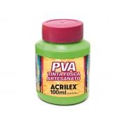PVA Tinta Fosca para Artesanato, 100 ml, Contém 6 Unidades, Acrilex - Verde Folha