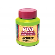 PVA Tinta Fosca para Artesanato, 100 ml, Contém 6 Unidades, Acrilex - Verde Maçã
