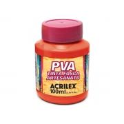 PVA Tinta Fosca para Artesanato, 100 ml, Contém 6 Unidades, Acrilex - Vermelho Fogo