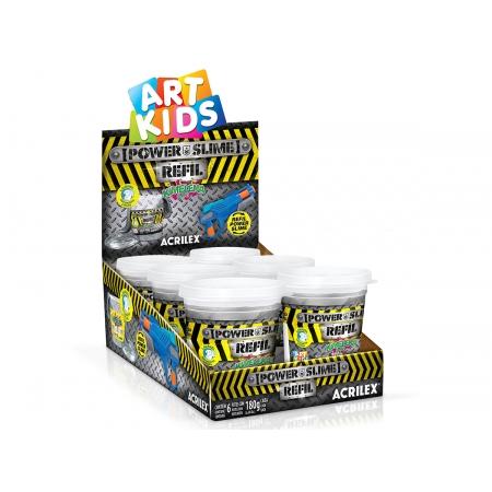 Refil Kimeleka Power Slime Prata 180g, Caixa C/ 6 Unidades, Acrilex