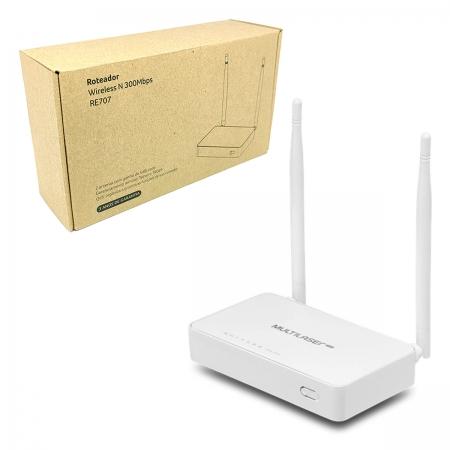 Roteador Multilaser RE707, 2.4GHz (300 Mbps), 2 Antenas - 4 Portas 10/100 - Função Preset