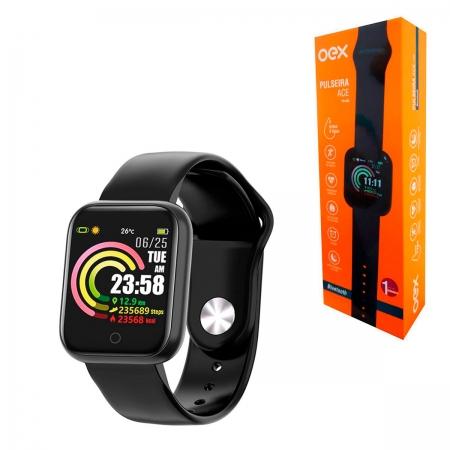 Smartwatch OEX Ace PS300, Bluetooth 4.0, À Prova D?Água, Silicone, Display Colorido em LCD
