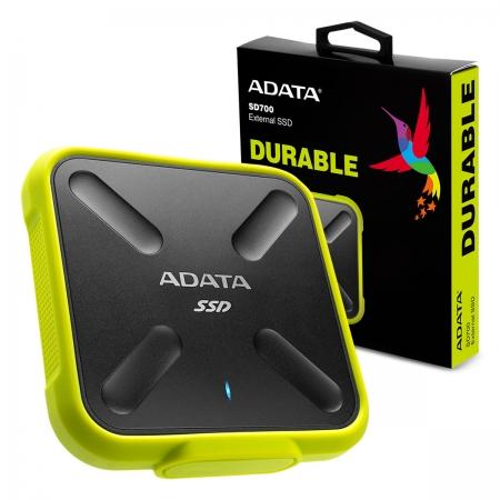SSD Externo Adata SD700, 512GB, Leitura 440MB/s, Grav. 430MB/s, USB 3.2 - ASD700-512GU31-CYL