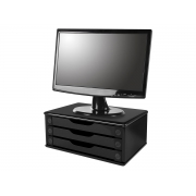 Suporte para Monitor MDF Black Piano 03 Gavetas Souza - 3347