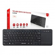 Teclado C3Tech K-WT100BK, Wireless com Touch Pad Integrado, ABNT2