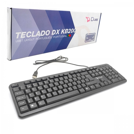 Teclado Duex DX KB200, USB 2.0, Layout Português Portugal