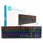 Teclado Gamer Mecânico HP GK100 USB, LED RGB, Layout ABNT2, Preto