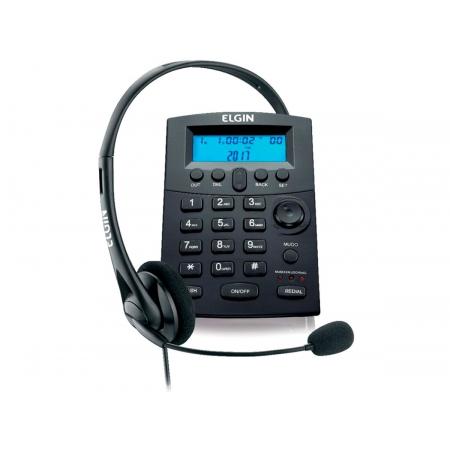 Telefone Elgin C/ Headset HST 8000,Identificador de Chamadas, Base discadora, Preto