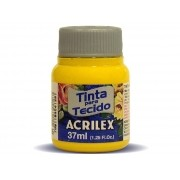 Tinta para Tecido Fosca, 37 ml, Contém 12 Unidades, Acrilex - Amarelo Ouro