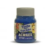 Tinta para Tecido Fosca, 37 ml, Contém 12 Unidades, Acrilex - Azul Turquesa
