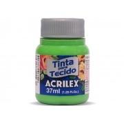 Tinta para Tecido Fosca, 37 ml, Contém 12 Unidades, Acrilex - Verde Folha