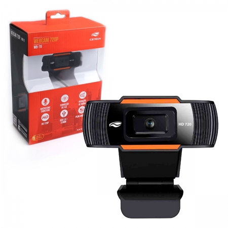 WebCam C3Tech WB-70BK, Resolução HD 720p, USB 2.0, Microfone