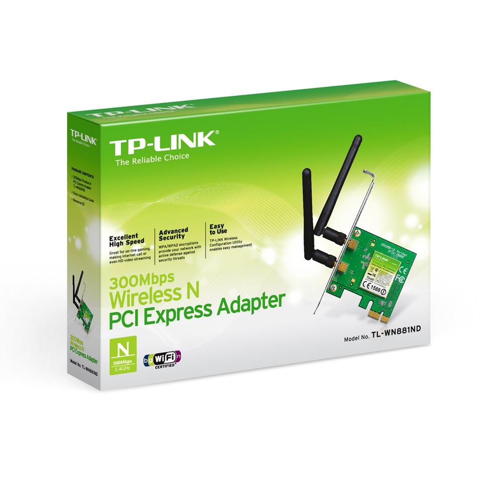 Adaptador PCI Express Wireless N de 300 Mbps TL-WN881ND TP-Link