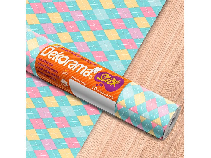 Adesivo Stick Decor Cambridge Candy, Contém 1 Rolo, 45cmx10m - Dekorama - 26013