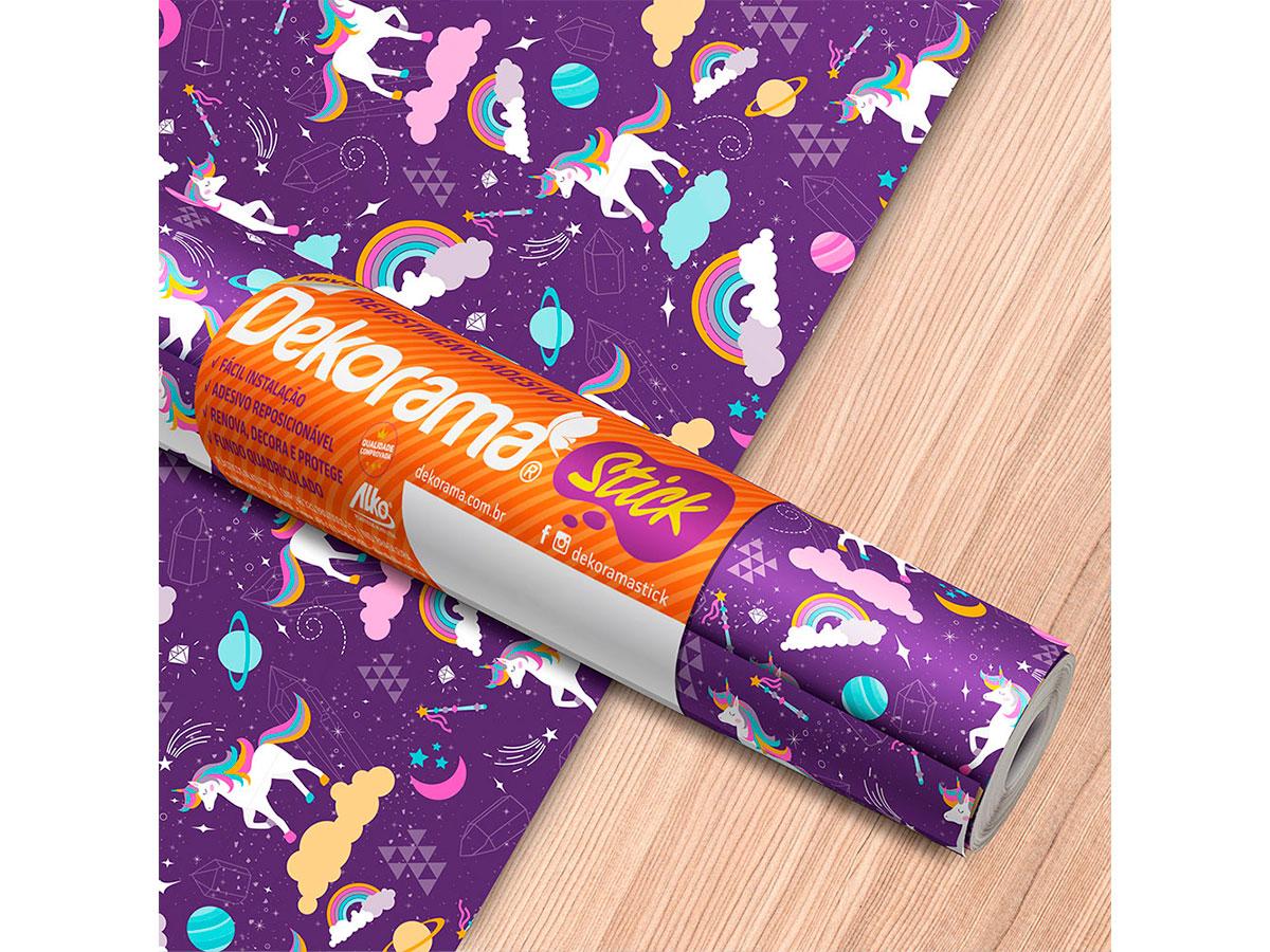 Adesivo Stick Infantil Unicórnio Roxo, Contém 1 Rolo, 45cmx10m - Dekorama - 26053