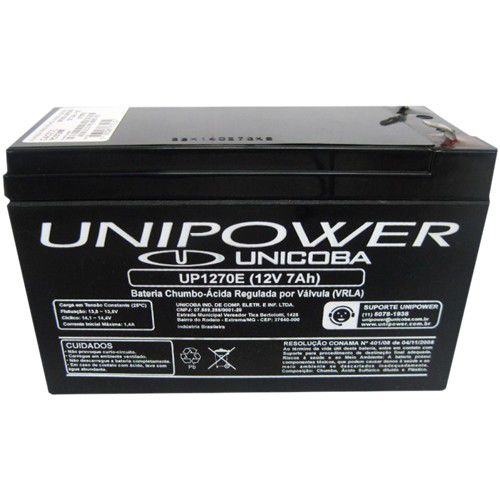 Bateria Unipower para Nobreak 12 V 7.0AH F187 UP1270E