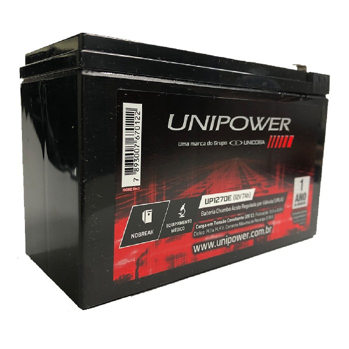 Bateria Unipower para Nobreak UP1270E F187 12V 7.0Ah