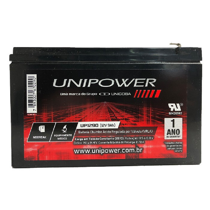 Bateria Unipower para Nobreak UP1290-06C025 F187 12V 9.0Ah