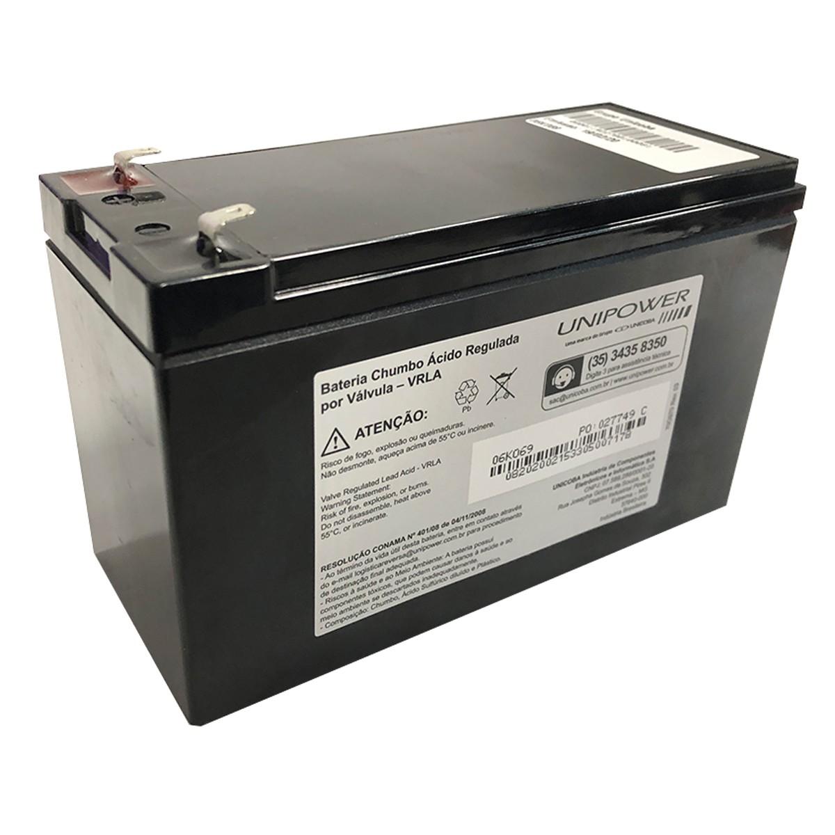 Bateria Unipower para Segurança/Nobreak UP1270SEG 12V 7.0Ah