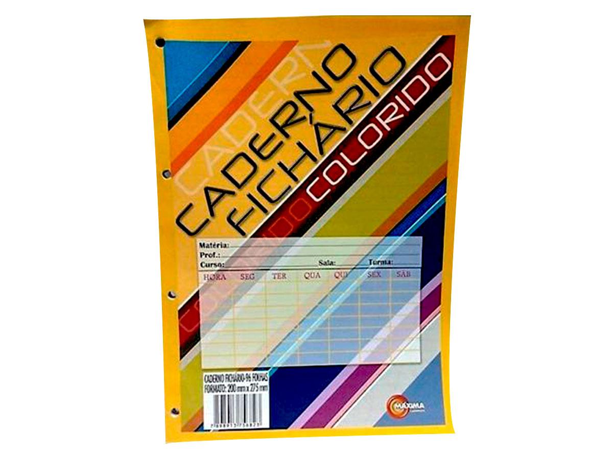 Bloco de Fichário Colorido, 96 Folhas, Caixa Com 10 Unidades, Máxima Caderno - 1257