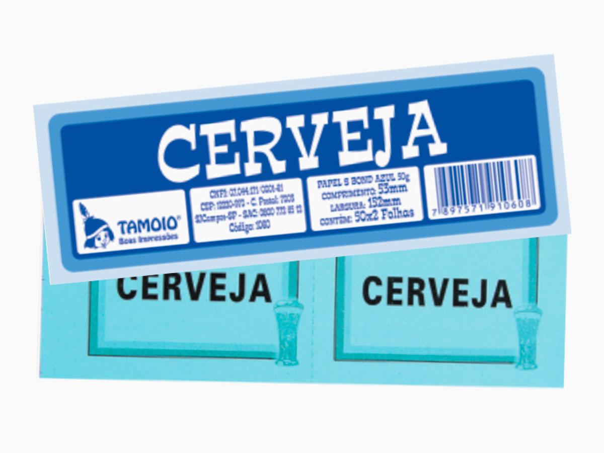 Bloco Ficha de Cerveja, 50 x 02 Folhas, Pacote Com 10 Blocos, Tamoio - 01060