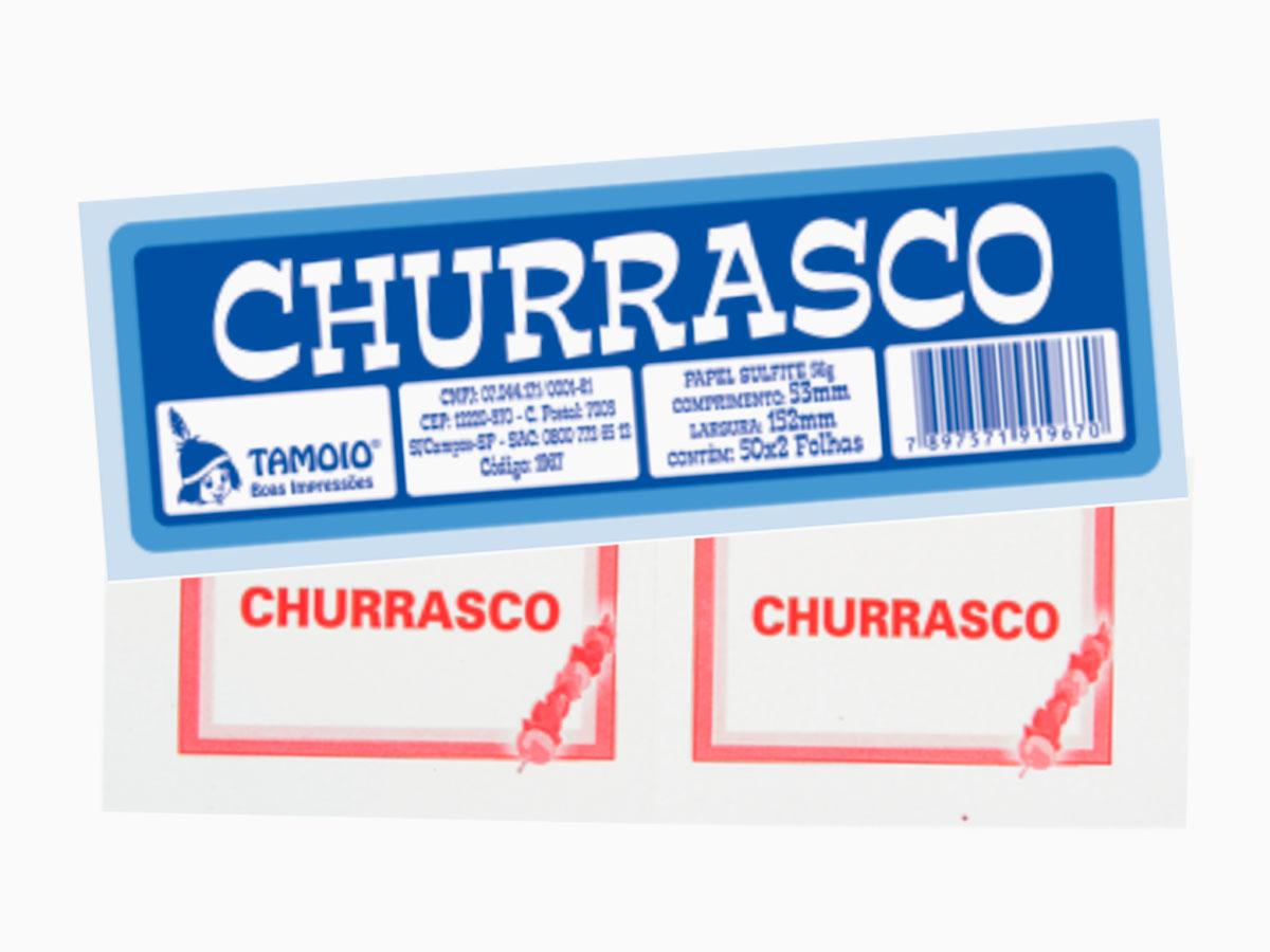 Bloco Ficha de Churrasco, 50 x 02 Folhas, Pacote Com 10 Blocos, Tamoio - 01967
