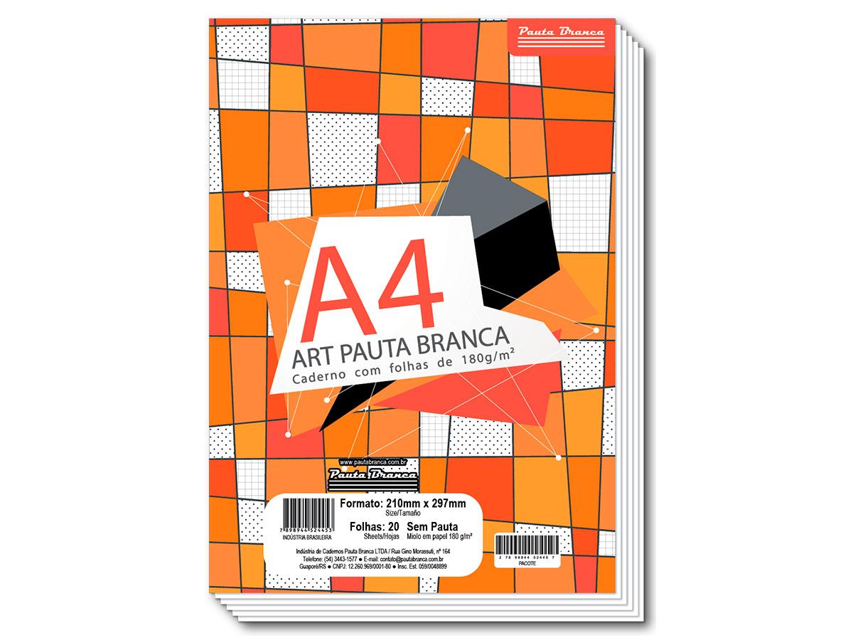 Bloco para Desenho A4, 180 g, 20 Folhas, Caixa Com 10 Unidades Pauta Branca - 524453