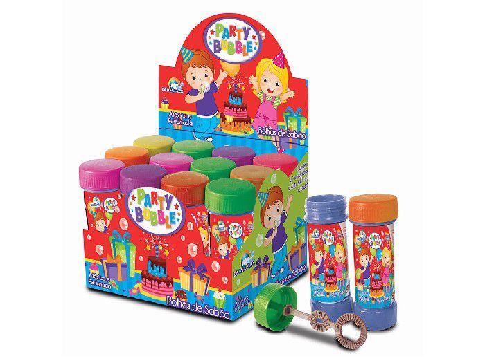 Bolha de Sabão Party Bubble, 60 ml, Display Com 12 Unidades, Brasilflex - 7097007