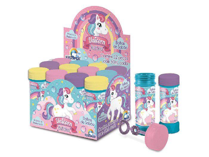 Bolha de Sabão Unicorn Bubble, 60 ml, Display Com 12 Unidades, Brasilflex - 7097017