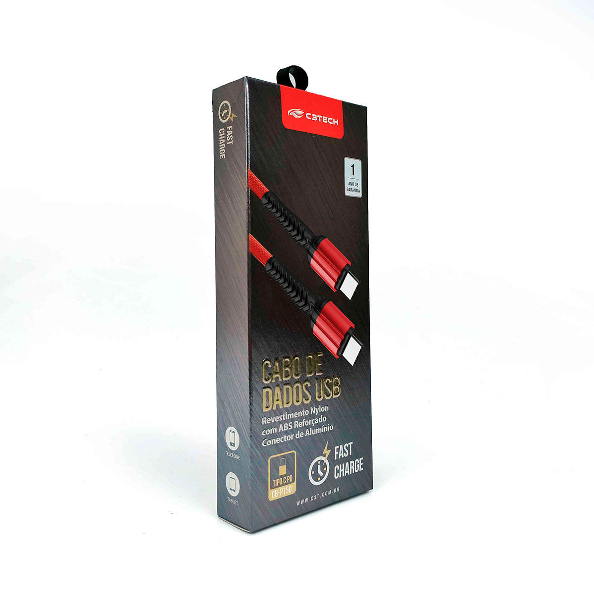 Cabo C3Tech CB-P150RD USB-C x USB-C PD 3,0A 1 Metro Vermelho