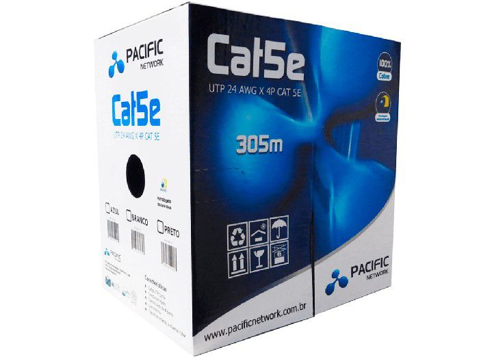 Cabo de Rede Pacific Network Cat5 Azul Utp 24 Awg x 4p 305mts