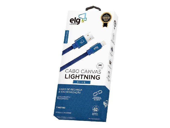 Cabo Lightning Elg P/Recarga/Sincronização Tecido Canvas 1,0mt Azul - CNV810BE