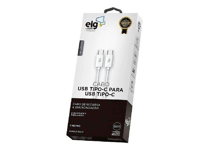 Cabo Tipo-C Elg P/Recarga/Sincronização 1,0mt Branco - TC2TC