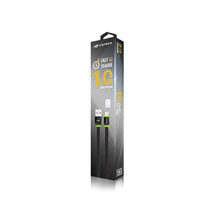 Cabo Usb Lightning C3TECH P/iphone 2.0a 1mtr CB-110BK