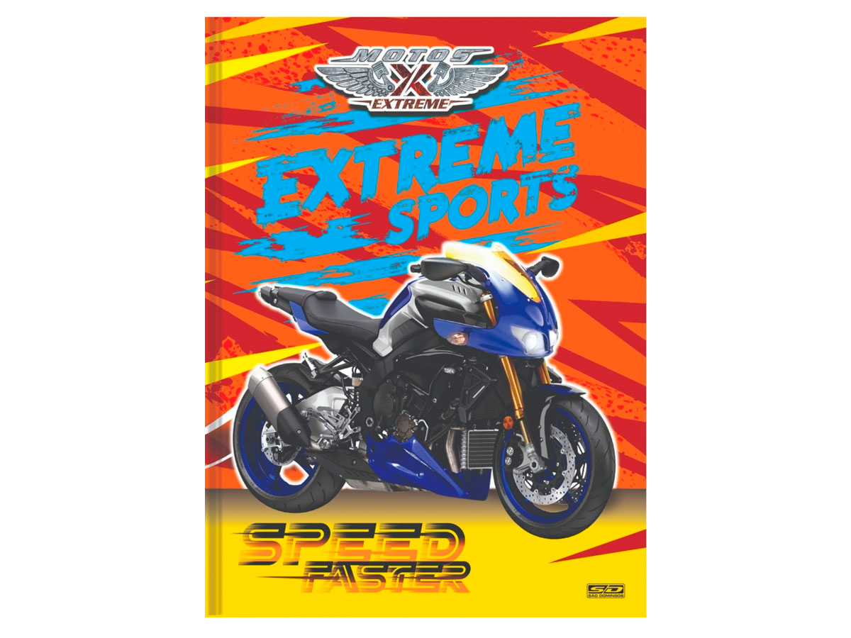 Caderno Brochurão C.D. Motos Extreme, 96 Fls, Pct. C/5 Un. - São Domingos - 4596