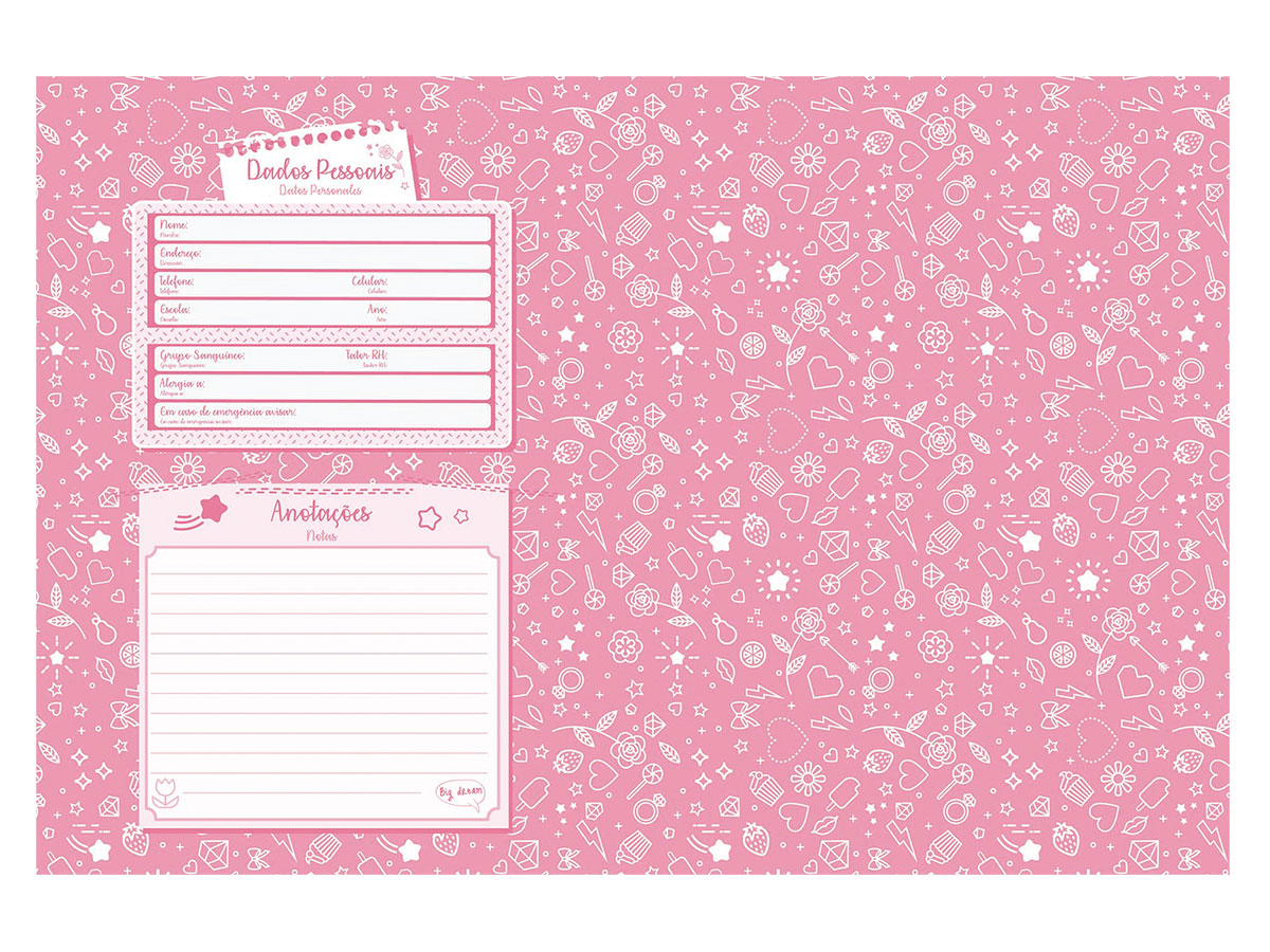 Caderno Brochurão Capa Dura Sweetness 96 Fls. Pct C/ 5 Unidades - Jandaia