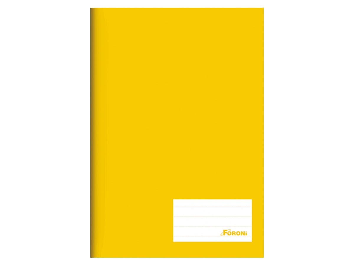 Caderno Brochurão Liso Class, Capa Dura 96 Folhas, Caixa Com 5 Unidades, Foroni - Amarelo