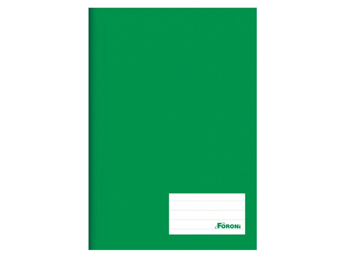 Caderno Brochurão Liso Class, Capa Dura 96 Folhas, Caixa Com 5 Unidades, Foroni - Verde