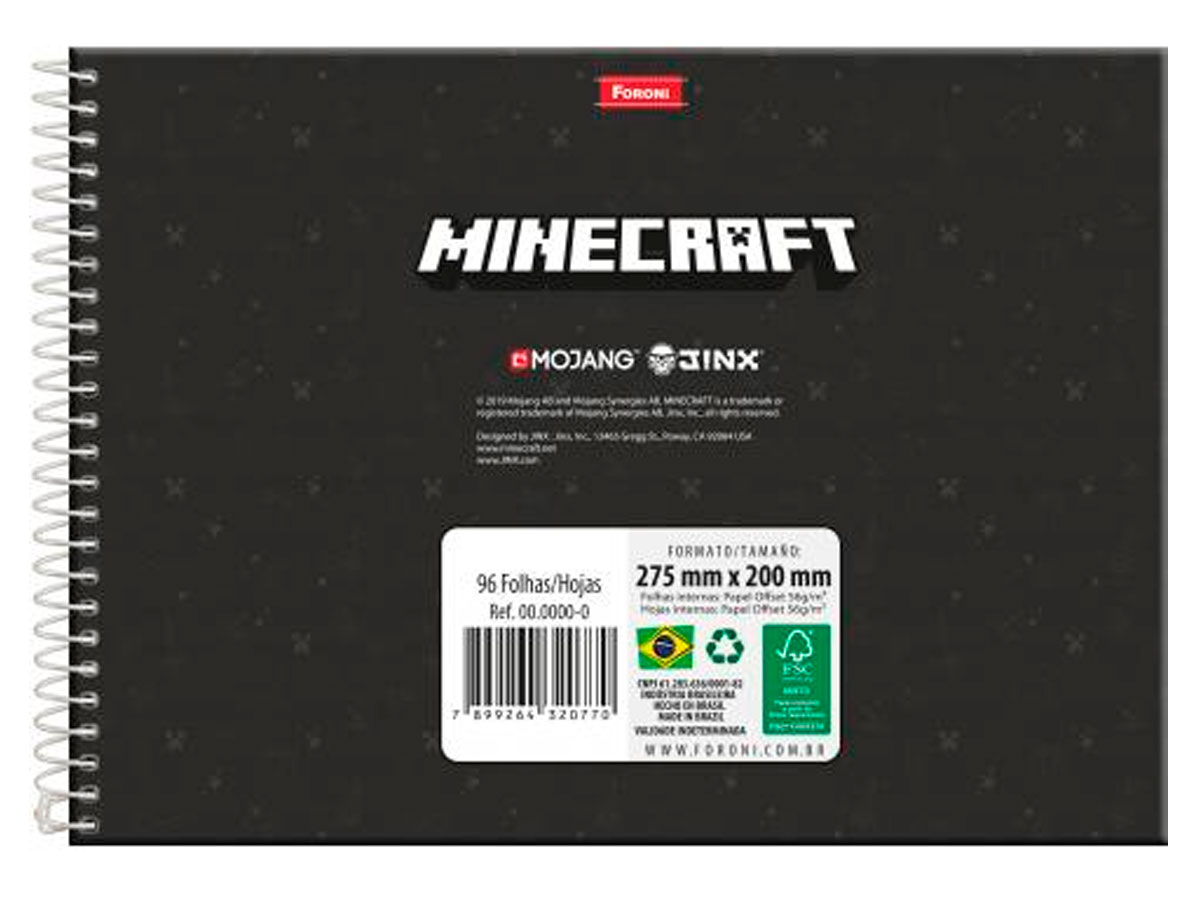 Caderno Cartografia Capa Dura Minecraft, 96 Fls. Pct. C/ 5 Un. - Foroni - 3360864