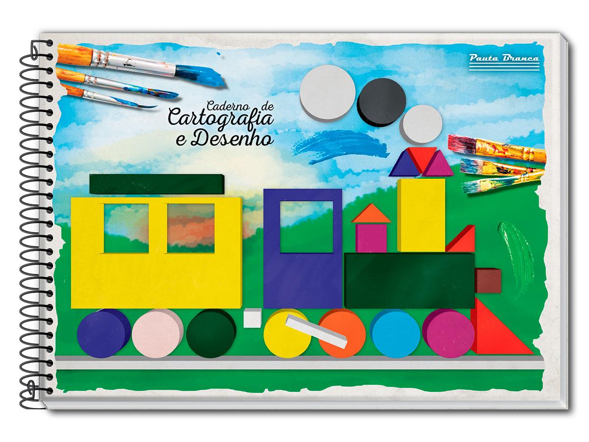 Caderno de Desenho Capa Dura Espiral A4, 60 Folhas Contém 04 Unidades Pauta Branca - 524545