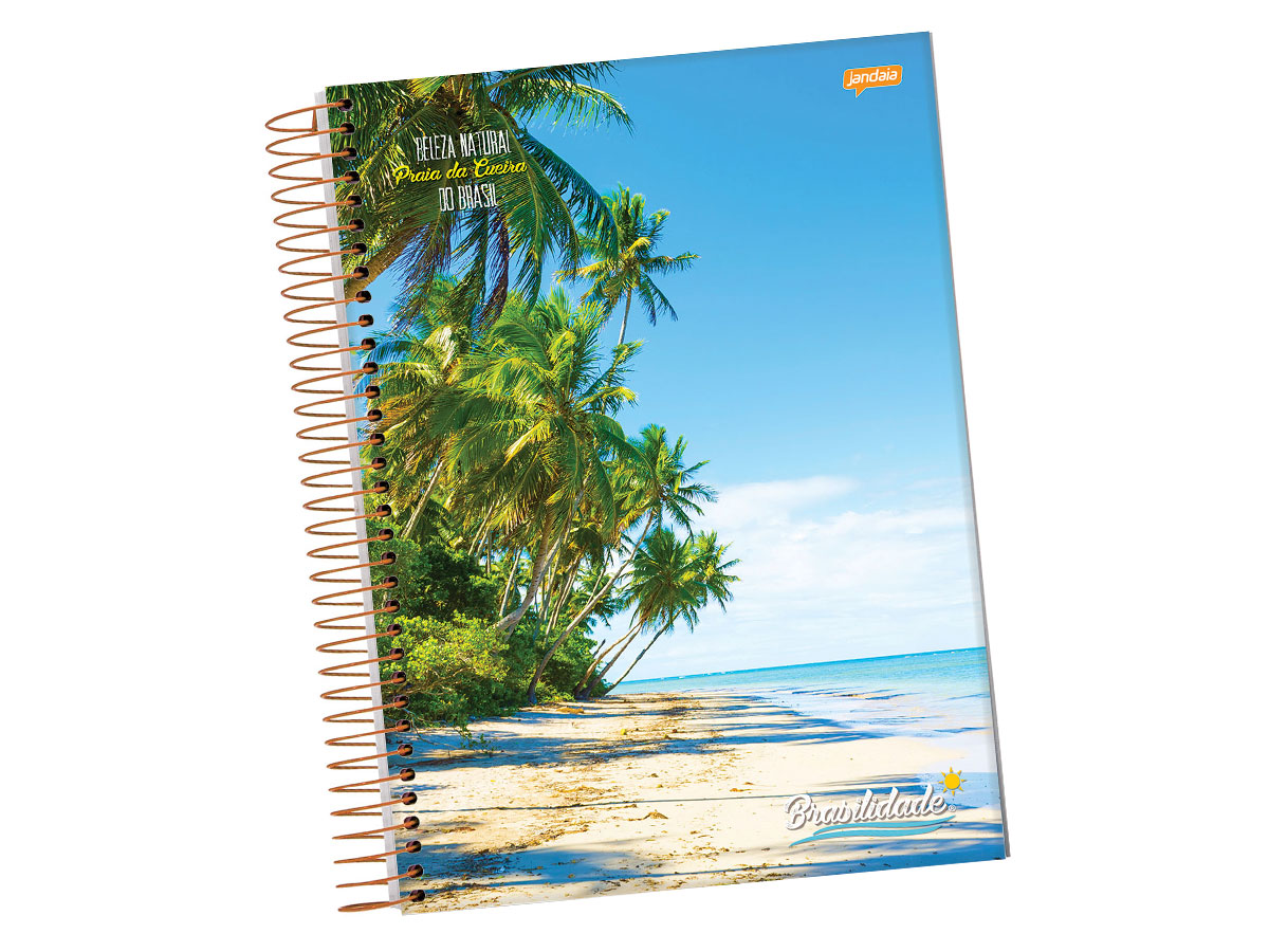 Caderno Espiral 1/4 Flexível, Contém 96 Folhas, Caixa Com 10 Unidades, Jandaia - 8112